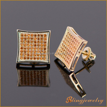 Hip hop bling jewelry iced out CZ stones mens screw back stud earrings