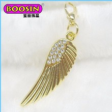 Factory wholesale gold palted angel wing, Fashion Zinc Alloy angel charm
