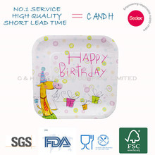 "9"" Square birthday party favor disposable paper plate"