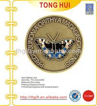 Butterfly designs soft enamel metal commemorative coin,souvenir coin