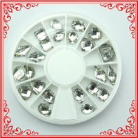 KQH069 mixed Size White Acrylic rhinestone crystal glitter Sticker Stud Nail Wheels
