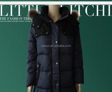 2015 Fashionable Coat Style Long Warm Fur Hood Women Winter Duck Down Jacket black