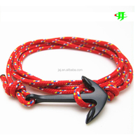 2015 Make in china hottest anchor bracelet charm nylon handmade rope men fashion bracelet