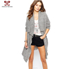 2015 Fashion clothes for women rtw Europe America long irregular large lapel cardigan gray parka jacket knitting loose sweater