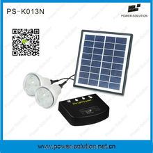 Solar panel system with 2 led bulbs and phone charger