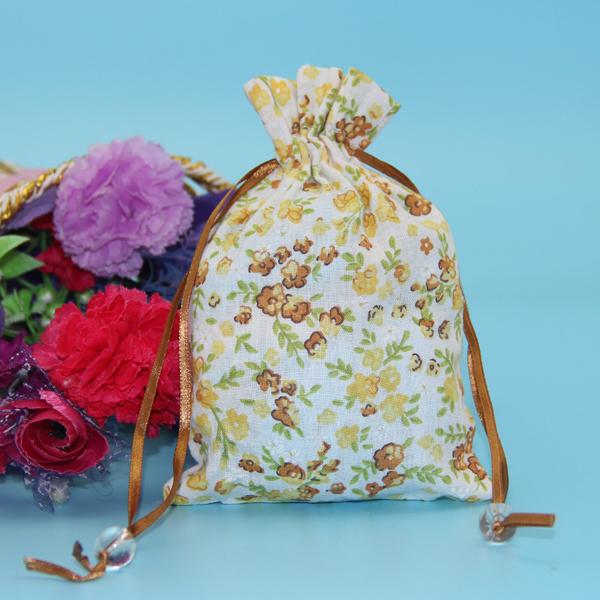 China factory customized promotional drawstring bag muslin cotton canvas drawstring bag with beautiful printing pattern