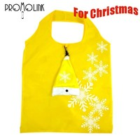christmas polyester custom cute hat shape foldable shopping bag