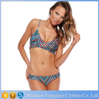New Bohemia National Style Strap cut out bikini cross bandage, woman bikini push up 2015 print swimwear crystal swimsuits