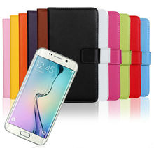 Flip Leather Wallet For Galaxy S6, For Samsung S6 Edge Leather Case, Genuine Real Leather Case Cover For Samsung S6 / S6 Edge