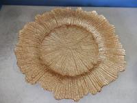 2015 elegant leaf shape glass charger plate , gold charger plates