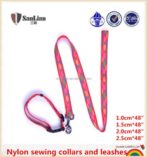 Pet products nylon sewing embroided collar and leashes