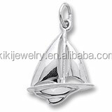 hot selling products gold plated boast sail in the sea sports charm wholesale fashion jewelry