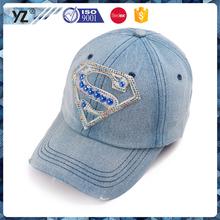 Custom promotional printing or embroidery logo hat rhinestone wear worn cotton sports direct baseball cap surper man S LOGO