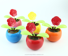 toy rose plastic dolls factory solar toy rose swing flip flap dancing flowers, car decorative gift sun doll factory wholesale