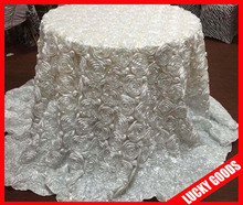 popular selling polyester white rosete 132 round table cloth