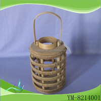 large wood candle lantern with metal top