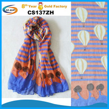 2015 new lady scarf , dancing lady and hot air balloon scarf