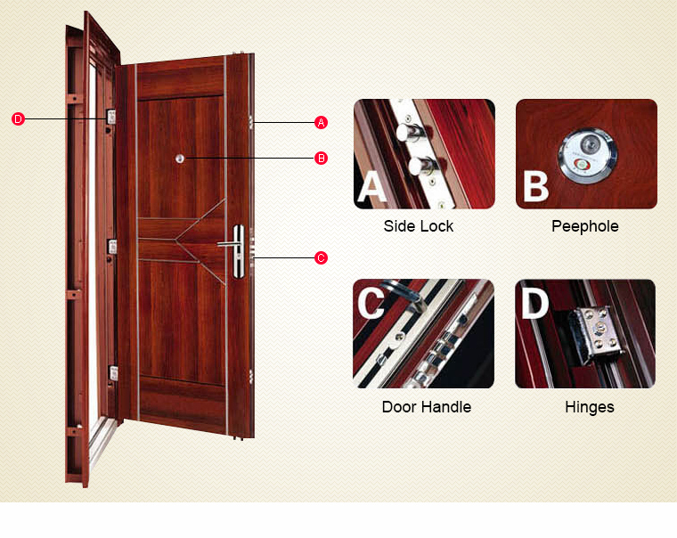 Steel security door/iron entrance door/iron exterior door