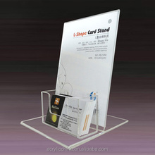 Clear acrylic flyer holder,flyer display holder with business card pocket