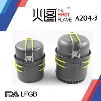zhongshan Lianshan A204-3 for 2 persons Hard anodized aluminum outdoor camping cookware pass LFGB/FDA