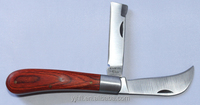 traditional gardening pruning knife stainless steel material wood handle lamp foot knife custom logo farm hand tool