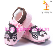 happy owl design canvas shoe for baby girls
