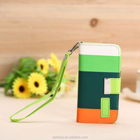 Mixing Color Leather Stand Phone Flip Cover Card Holder Slot Wallet Case for iPhone 4 4S