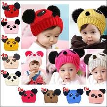 2015 New Year Product Cute Fashion Knit Kids Hats Fur Pom Pom Crochet Baby Hats