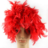 2015 Wholesale cheap synthetic red feather wigs