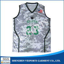 Sublimation Printing Sleeveless International Team Custom Your Own Camo Basketball Jersey Uniform Design