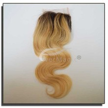 6a 100% human hair closure for women cheap brazilian hair 1B/613 body wave omber color lace closure