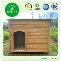 Wooden outdoor dog house with patio