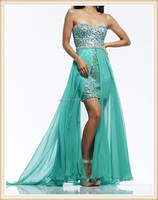 2015 new design long strapless beaded sequin fabric green sexy chiffon two piece girls detachable skirt party dress