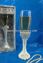 resin butterfly with wine glass toasting flutes wedding accessory