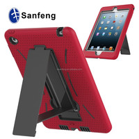 Red Silicon Black Pc Hard Cover For Ipad Mini 4 With Kickstand Protective Case