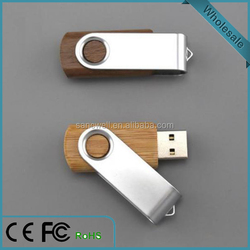 Free Customize Wooden Swivle USB Flash Drive 8GB
