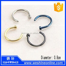 Highly Polished Titanium Nose Screw With Crystal Nose Ring