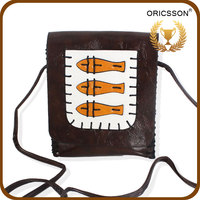 Summer Fish Print Brown Messenger Bag for Girl Made of PU Leather
