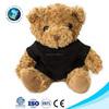 Personalized colorful stuffed plush toy teddy bear with black print fabric and logo custom teddy bear t shirts