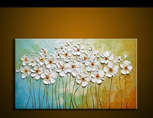 hand made Modern Oil Painting Palette knife Thick Paint white Flowers Painting Home Decoration Abstract Painting Canvas Picture