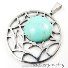laser cut stainless steel circle pendants with turquoise