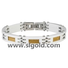 White Ceramic Bracelet with Gold Stainless Steel Inlay for Women Jewelry