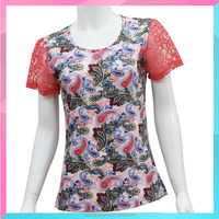 OEM fashion printed female t shirt with short lace sleeve