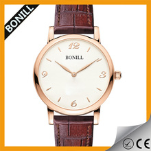 Simple design unisex genuine leather watch with date