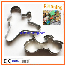 Stainless steel human and motorcycle shaped cookie cutter set
