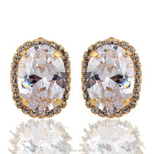 Wholesale fashion jewelry Oval zircon fashion earrings surrounded by crystal