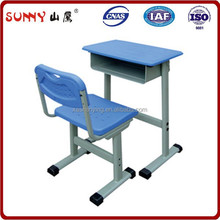 Plastic school furniture student study desk with chair