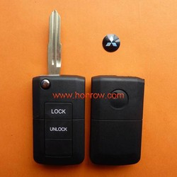 Mitsubishi 2 button replacement flip remote car key blank/cover