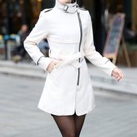 W70817G 2015 new design winter coats for women long section oblique zipper long brown wool coat with belt