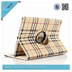 Classic plaid pattern fabric leather case for ipad air 2 360 rotating case